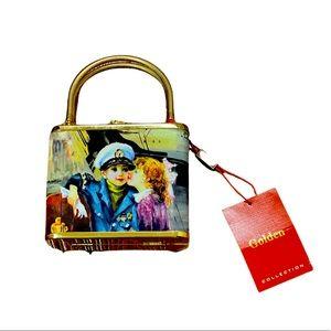 New Golden gold metal bling print small box purse